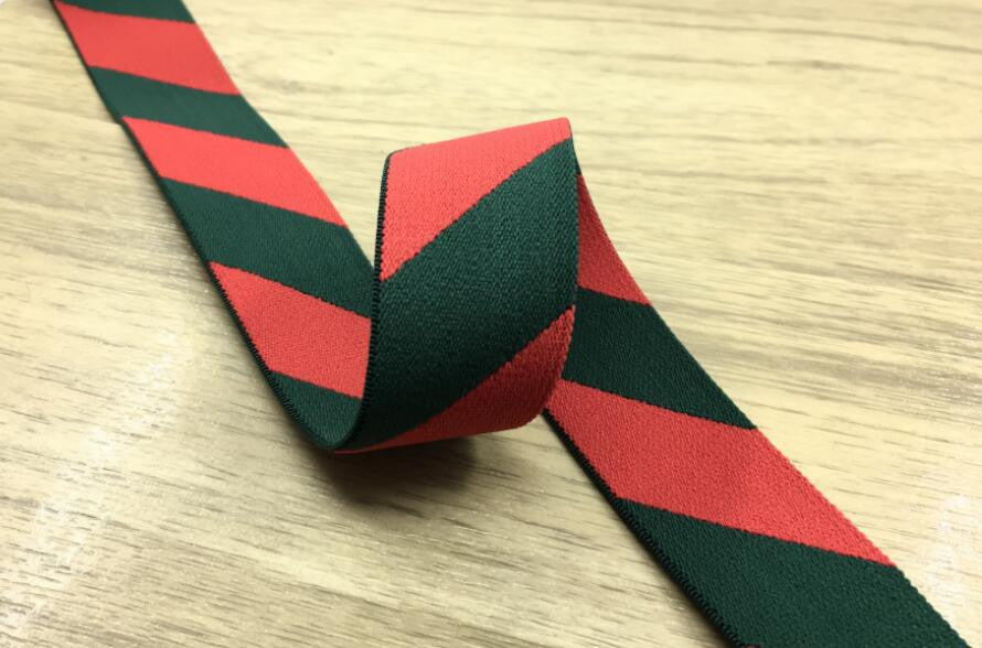 "1 1/4 "" 30mm Wide Twill Stripe Red and Black Soft Stretch Elastic Band"