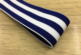 1.5 inch (40mm) Colored Plush White and Blue Wide Striped Soft Elastic Band - strapcrafts