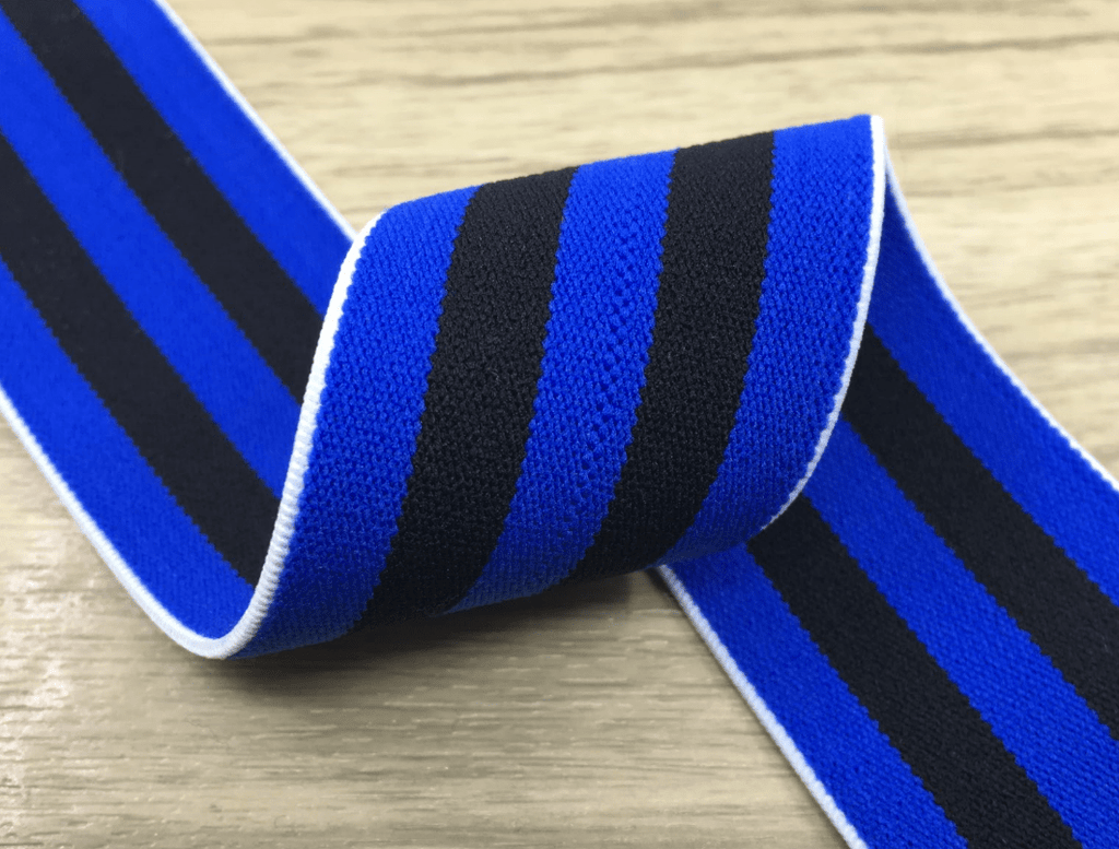1.5 inch (40mm) Colored Plush Black and Blue Wide Stripe Soft Elastic Band