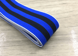 1.5 inch (40mm) Colored Plush Black and Blue Wide Stripe Soft Elastic Band - strapcrafts