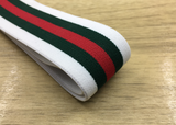 1.5 inch (40mm) Wide Colored Plush White,Green and Red Stripe Soft Elastic Band - strapcrafts