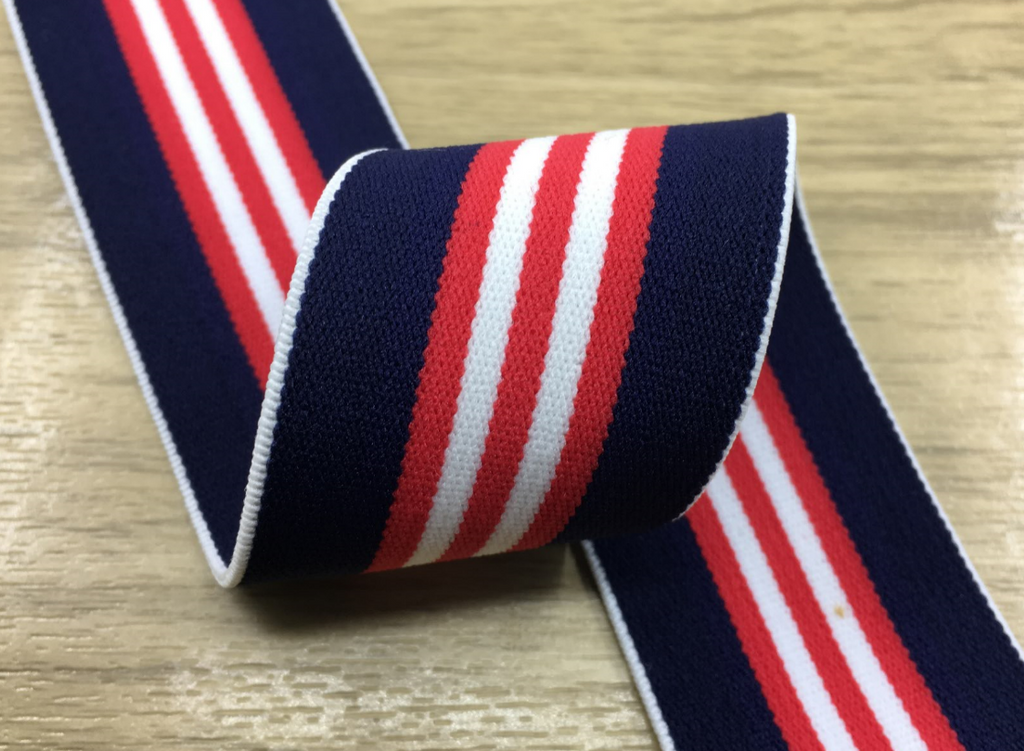 1.5 inch (40mm) Wide Colored Plush Blue,Red and White Thin Stripe Soft Elastic Band