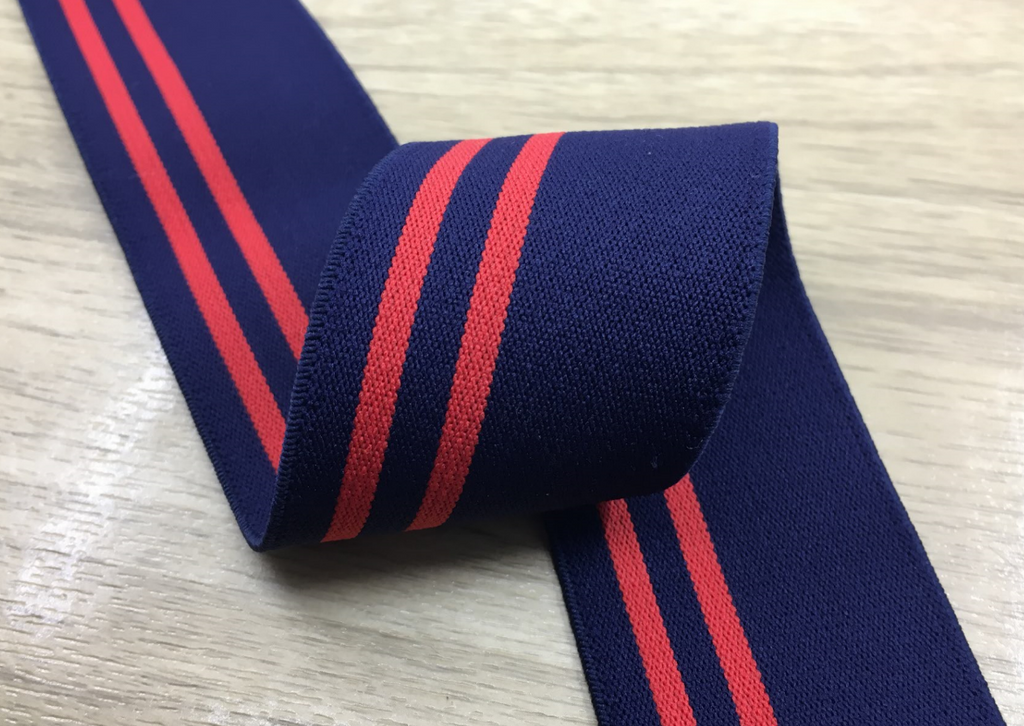 1.5 inch (40mm) Wide Colored Plush Blue and Red Stripe Soft Elastic Band