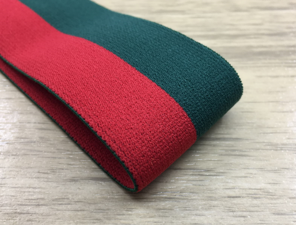 1.5 inch (40mm) Wide Colored Plush Green and Red Stripe Soft Elastic Band