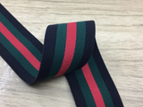 1.5 inch (40mm) Wide Colored Plush Black,Green and Red Stripe Soft Elastic Band - strapcrafts