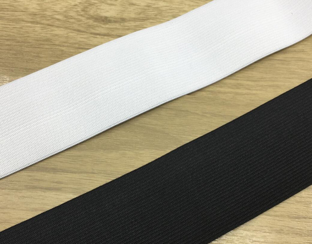 3 inch (75mm) Heavy Stretch Black and White Knit Elastic Band