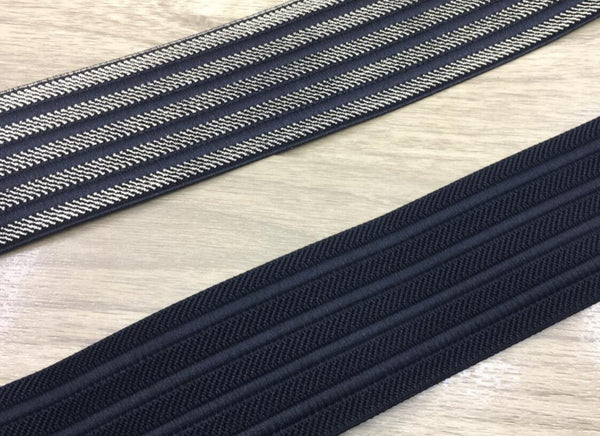 2 Inch 50mm Wide Black And Gold Stripes Elastic Band