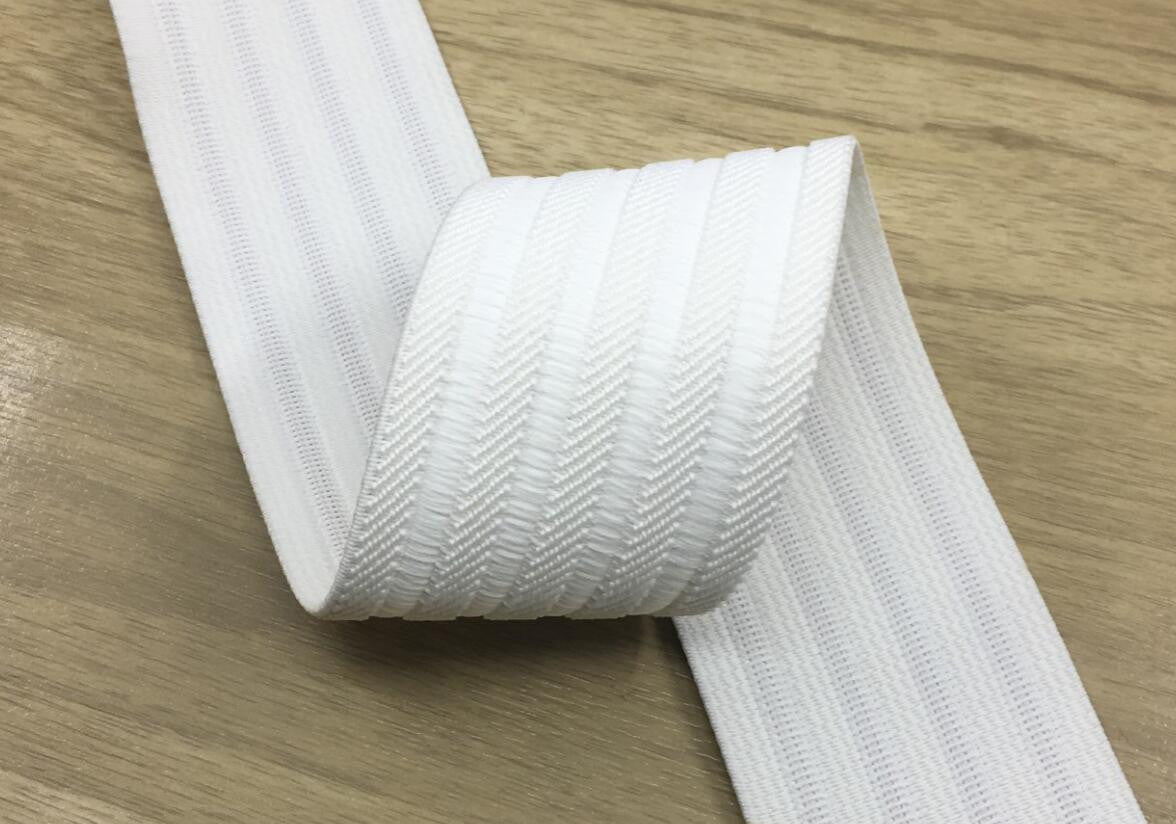 2 inch 50mm Wide White Jacquard Stripes Elastic Band , Waistband Elastic by the Yard, Elastic Trim,Elastic Ribbon,Stretchy Elastic - strapcrafts