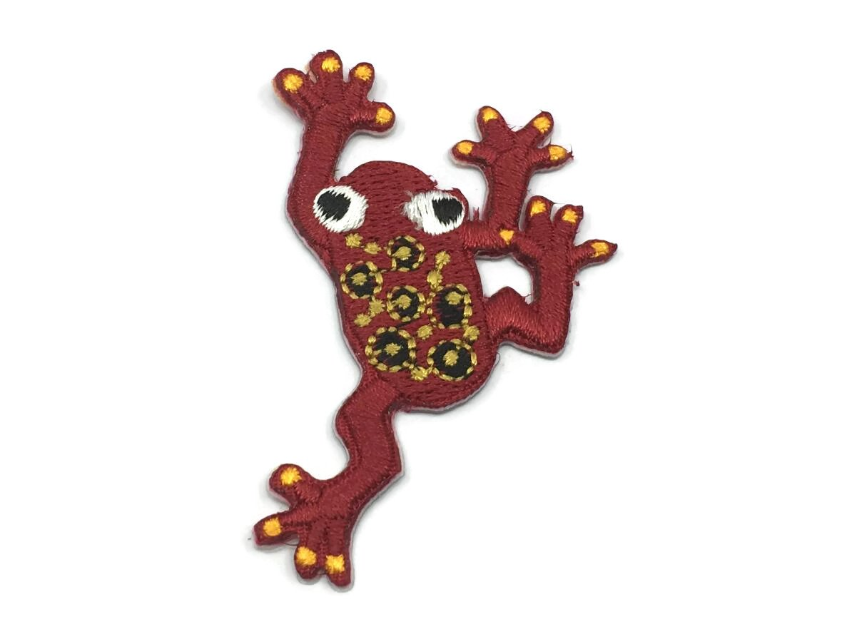 Embroidered Red Frog Iron On Back Patch,Sew on Frog Applique - 1PC - strapcrafts