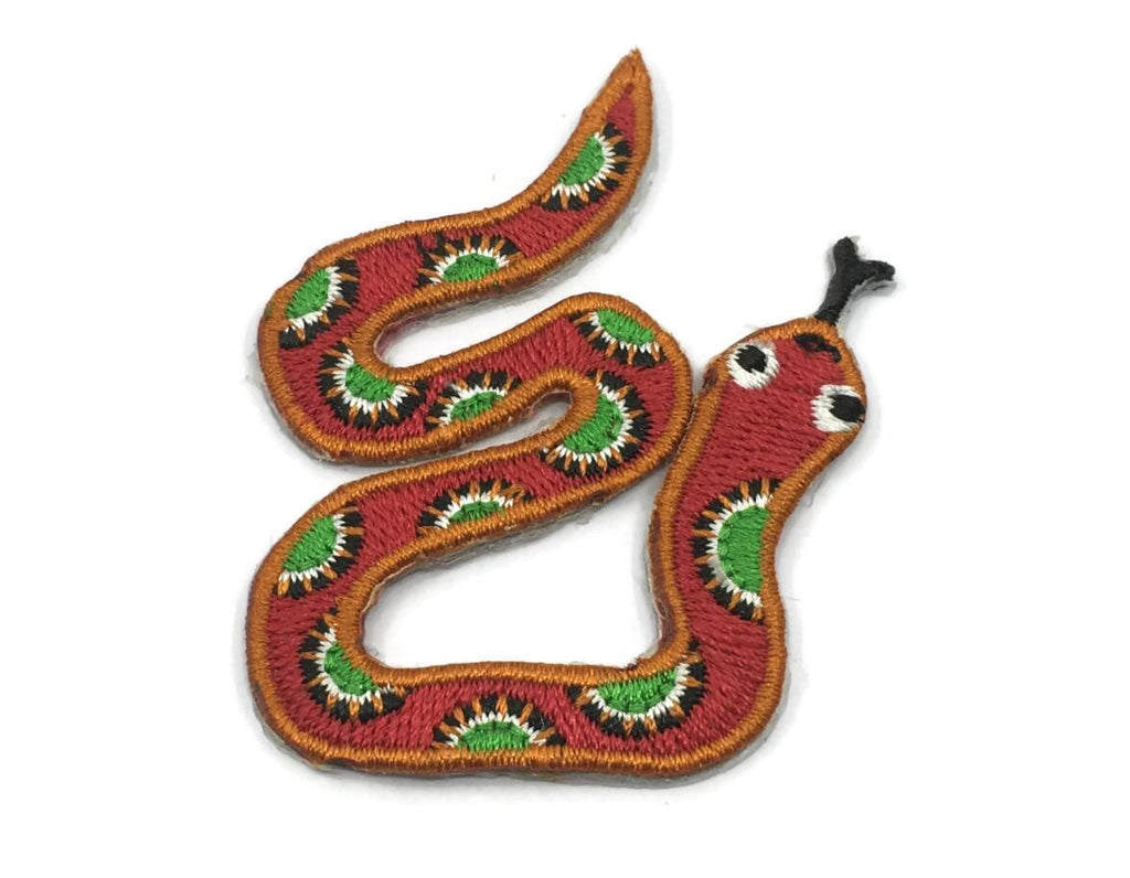 Embroidered Red Snake Iron On Back Patch,Sew on Snake Applique - 1PC