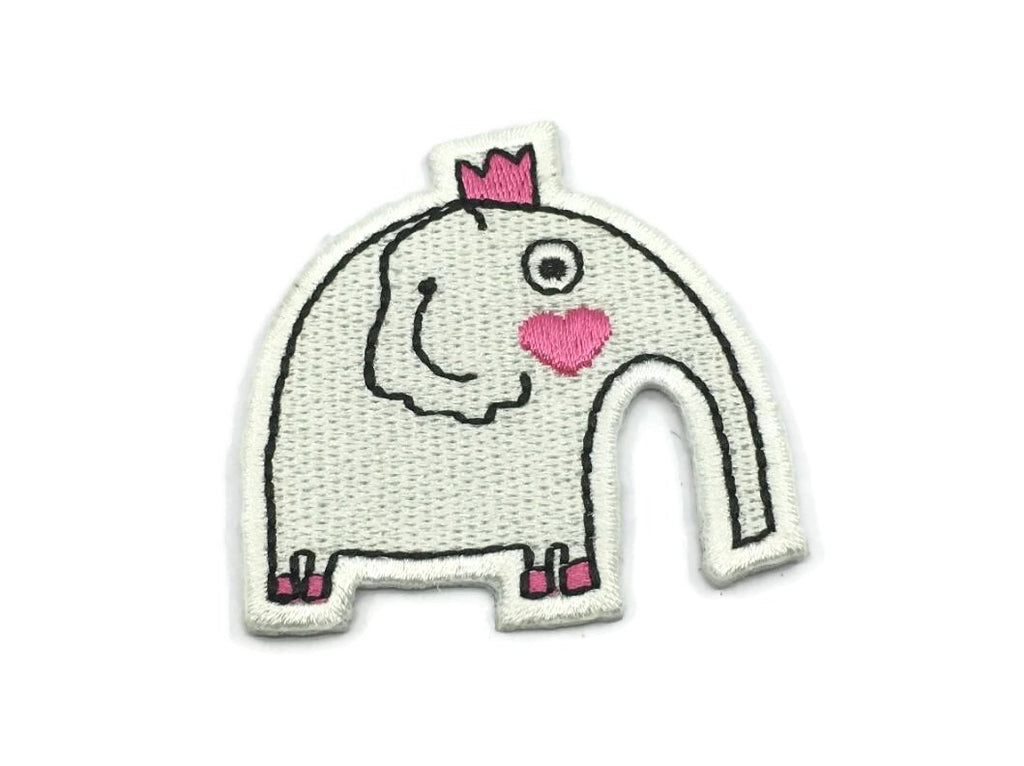 Embroidered White Elephant  Iron On Back Patch,Sew on Elephant  Applique - 1PC