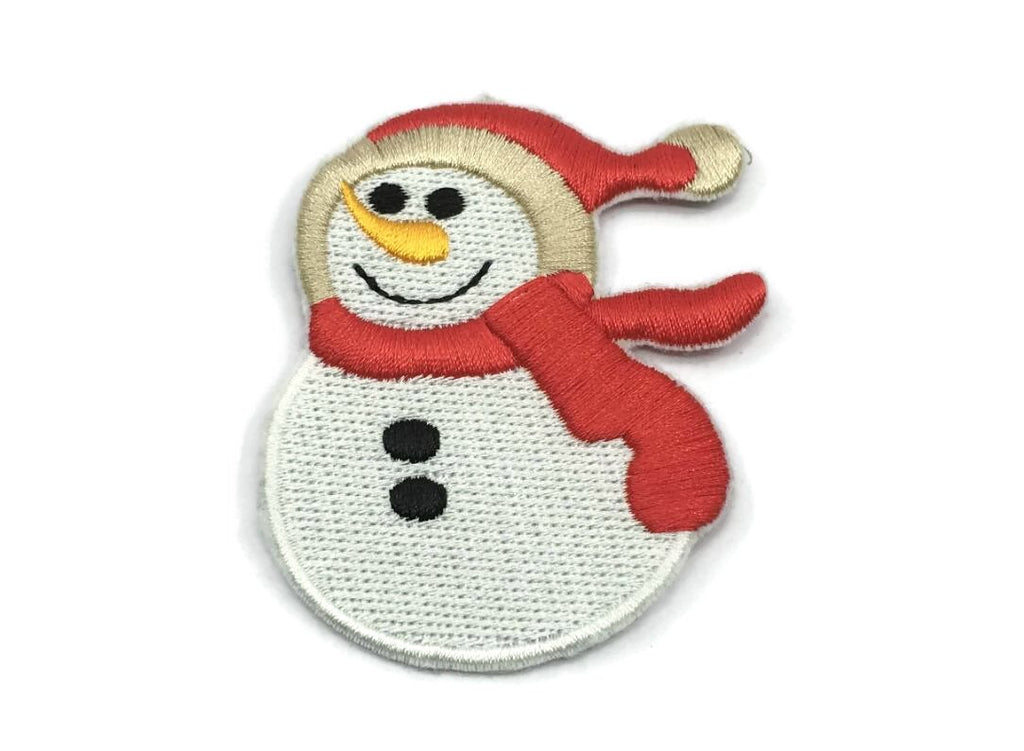 Embroidered White Snowman  Iron On Back Patch,Sew on Snowman  Applique - 1PC