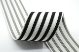 2 inch (50mm) Wide Black Striped Jacquard  White Elastic Bands, - strapcrafts