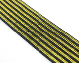 2 inch (50mm) Wide Gold Glitter Striped Black Elastic - 1 Yard - strapcrafts