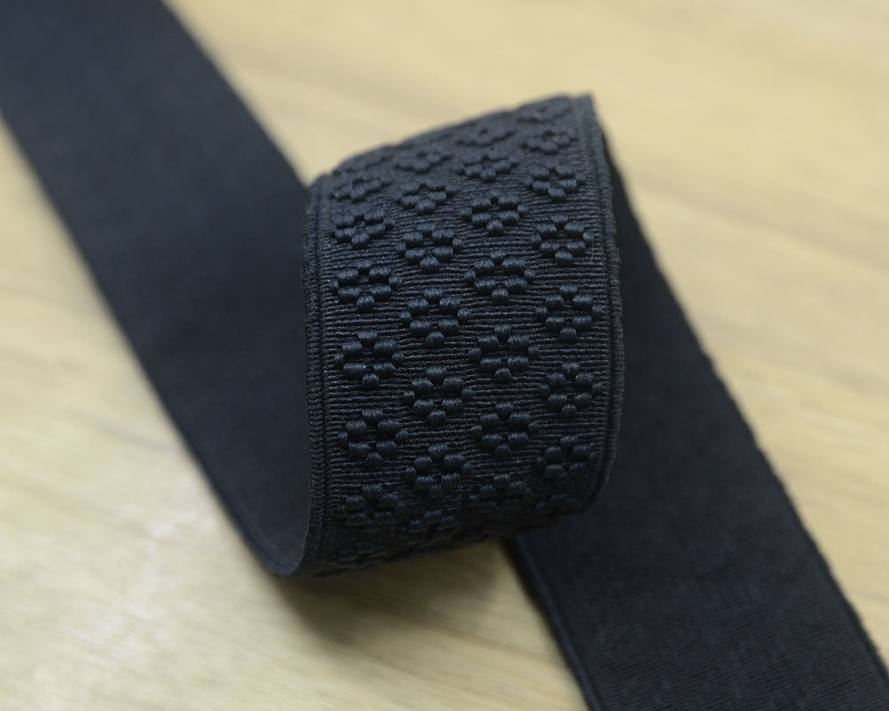 1.5 inch 38mm Wide Black Embroidery Jacquard Elastic Band ,Waistband Elastic by the Yard, Elastic Trim,Elastic Ribbon,Stretchy Elastic