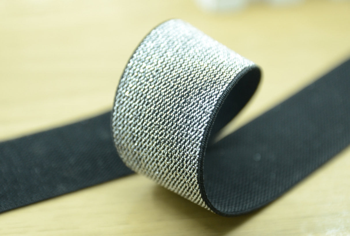 Glitter Elastic, 1.5 inch 38mm Silver and Gold Glitter in Black Elastic - strapcrafts