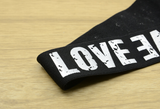 11/4 inch 30 mm Wide Printed Love Letters Black Plush Comfortable Elastic -1 Yard - strapcrafts