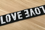 11/2 inch 38mm Wide Printed Love Letters Black Plush Comfortable Elastic -1 Yard - strapcrafts