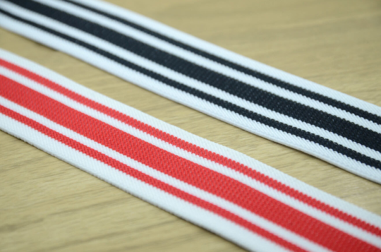 "1.5"" 38mm Wide White and Red Striped Colored Elastic, -1 Yard - strapcrafts"