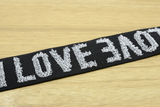 11/2 inch 38mm Wide Jacquard Love Letters Black Plush Comfortable Elastic , - strapcrafts