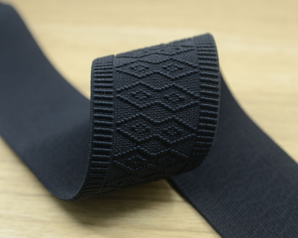 1.5 inch 38mm Wide  Waistband Elastic, Ethnic Pattern Black Elastic Trim,Stretchy Elastic Ribbon