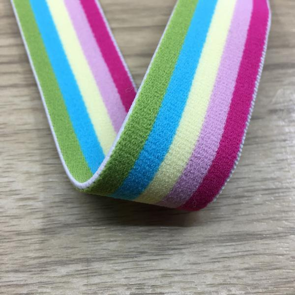 0.85 inch (22mm) Wide Colored Plush Colorful Striped Pink Elastic Band - 1 Yard
