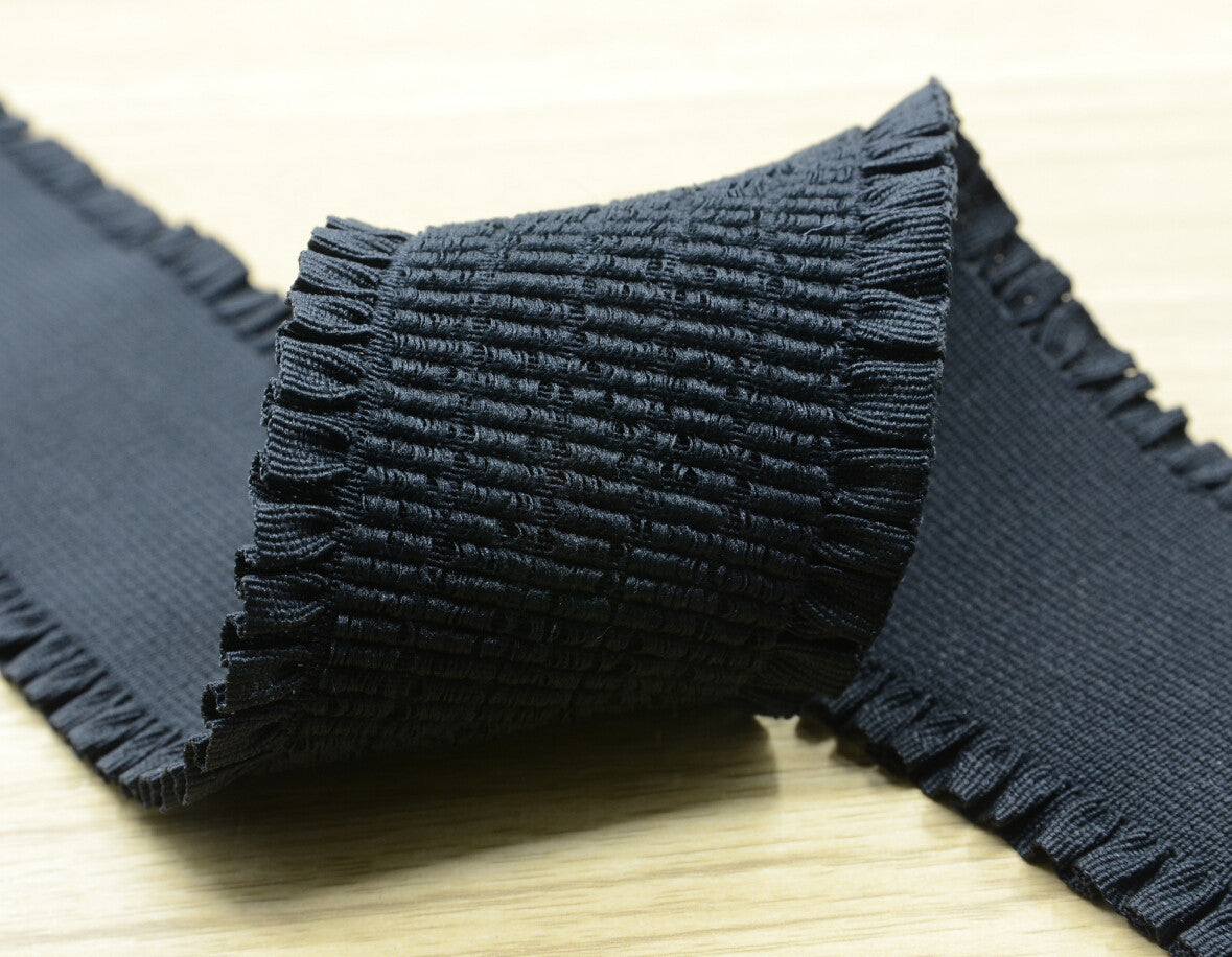 2 inch 50mm Wide Soft Ruffled Black Elastic Band , Shirring Elastic For Waistband - 1 Yard - strapcrafts