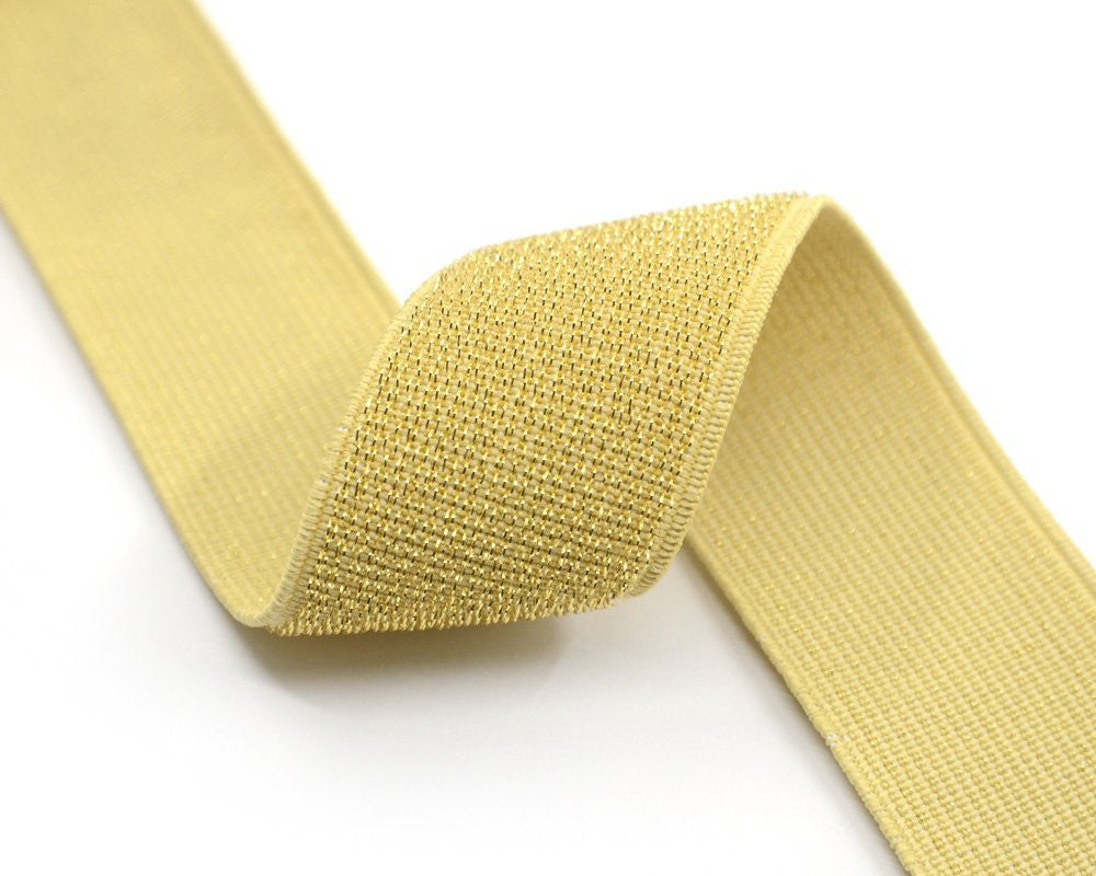 "1.5"" 38mm Wide Gold Long Glitter Fiber Waistband Elastic by the yard - strapcrafts"