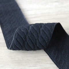 2.36 inch (60mm) Wide Soft Black Jacquard Striped Elastic Band - 1 Yard - strapcrafts