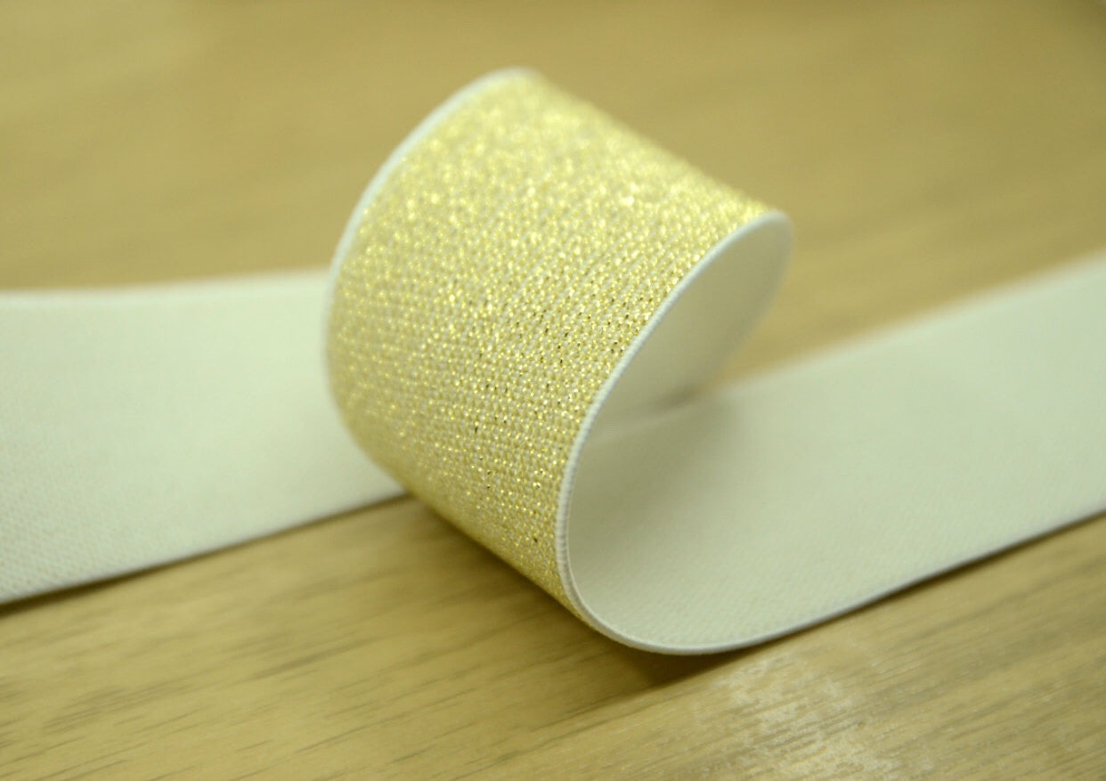 "1.5"" 38mm wide Gold & Silver Glitter Waistband Elastic by the yard - strapcrafts"