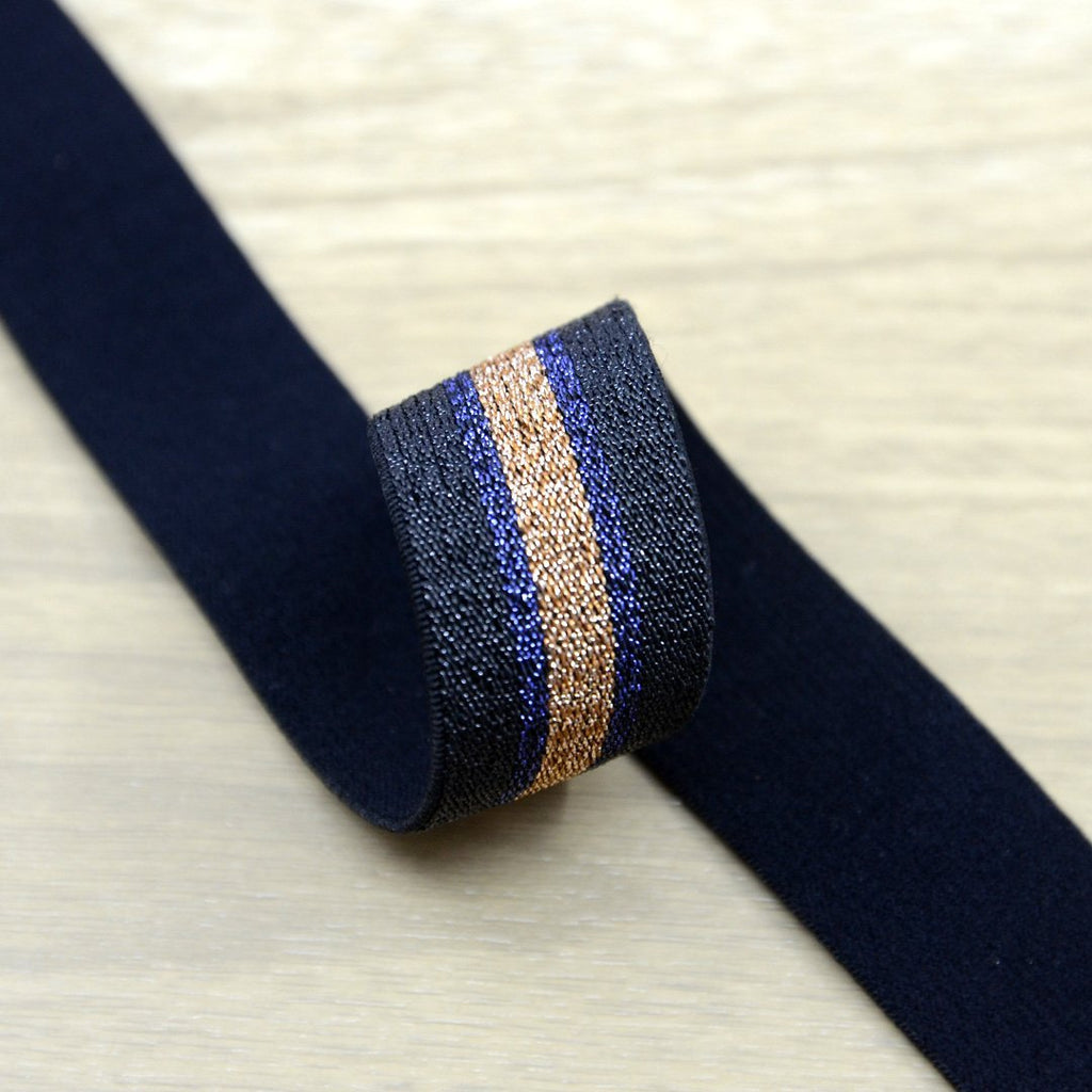 0.75 inch 20mm Gold and Black Glitter Striped Elastic Band , Colored Elastic Trim, Elastic Ribbon,  Elastic by the Yard,