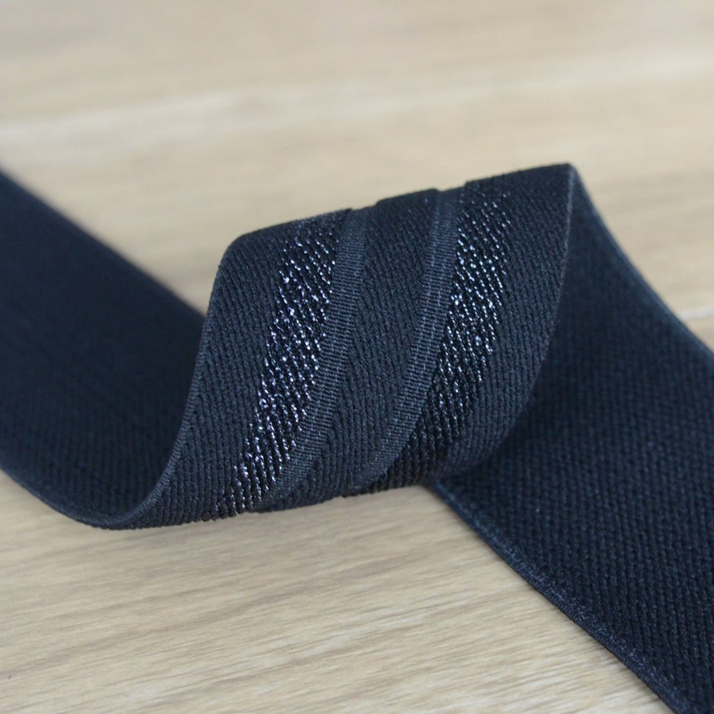 1.7 inch/44 mm Wide Black Glitter Striped Elastic Band,  Elastic Trim, Elastic Ribbon,  Elastic by the Yard, Sewing Elastic