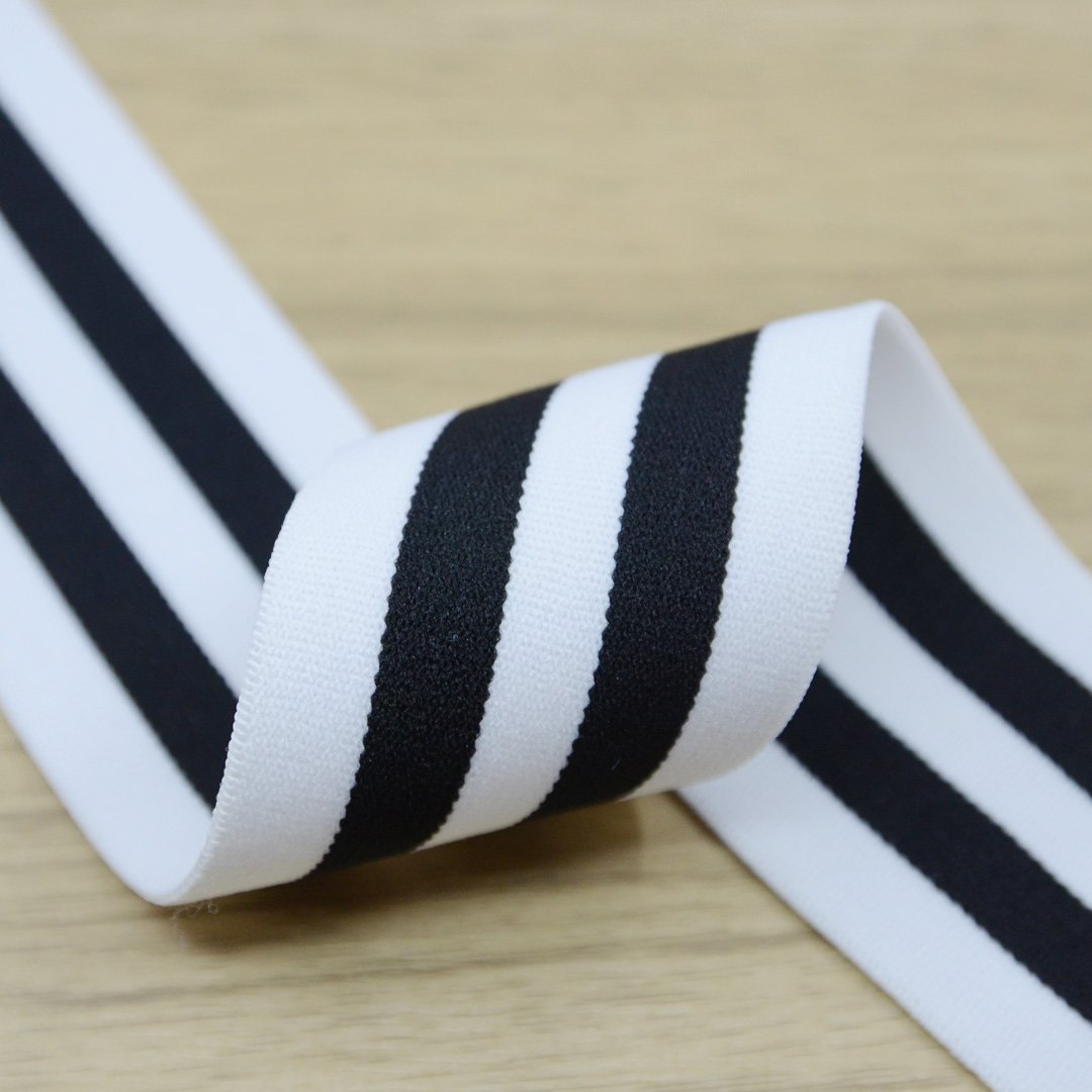 2 inch (50mm) Wide Colored Plush White and Black Striped Elastic Band - 1 Yard - strapcrafts