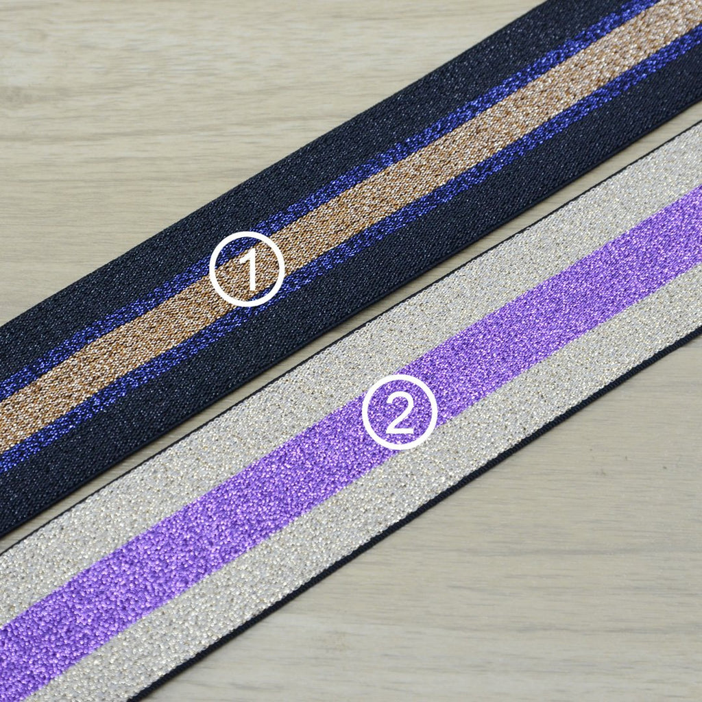 1 1/2 inch 40mm Wide  Glitter Striped Elastic Band , Colored Elastic Trim, Elastic Ribbon,  Elastic by the Yard, Sewing Elastic