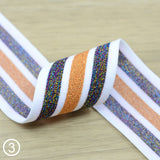 1.5 inch 38mm Wide Colorful Glitter Striped Elastic Band , Colored Elastic Trim, Elastic Ribbon,  Elastic by the Yard, Sewing Elastic - strapcrafts