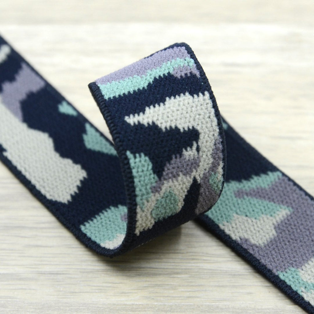 1 inch (25mm) Wide Colored Plush Camouflage Stretch Soft Elastic Band