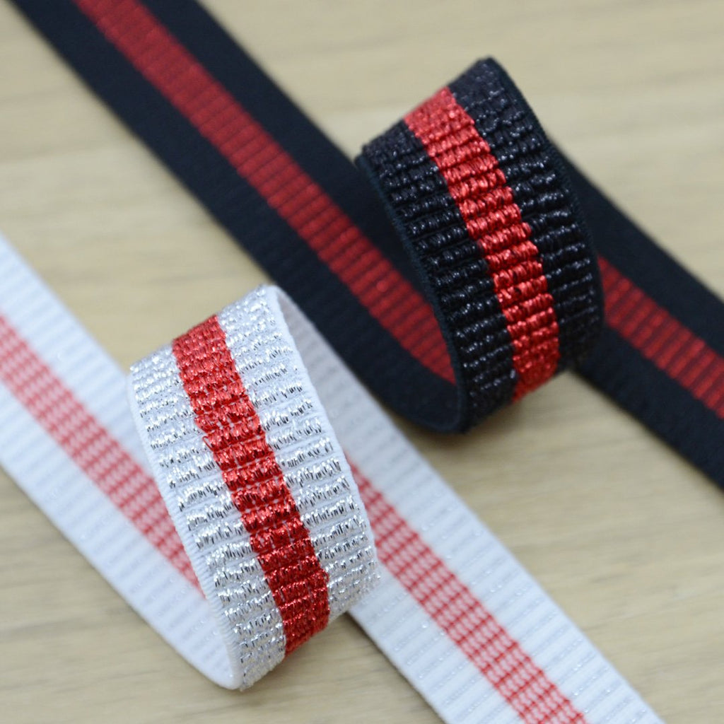 1 inch 25mm Wide  Glitter Striped Elastic Band , Colored Elastic Trim, Elastic Ribbon,  Elastic by the Yard,