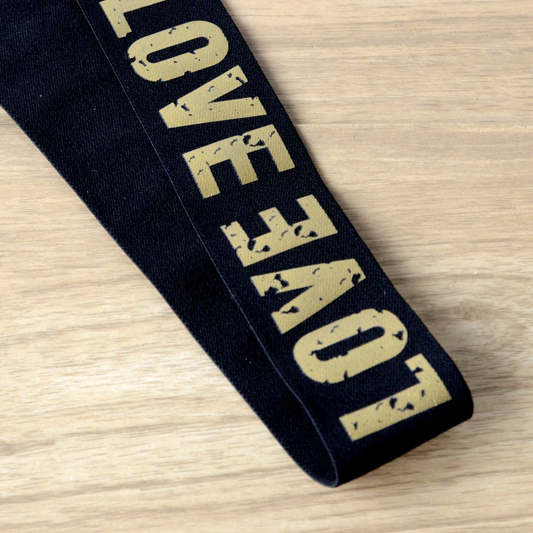 11/2 inch 40mm Wide Printed Gold Love Letters Black Plush Comfortable Elastic , Soft Elastic Band, Waistband Elastic,Sewing Elastic - strapcrafts