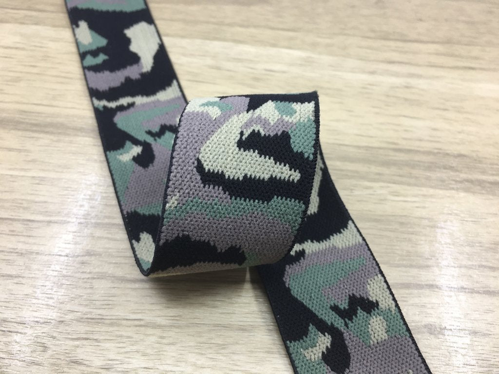 1.5 inch (38mm) Wide Colored Plush Camouflage Stretch Soft Elastic Band