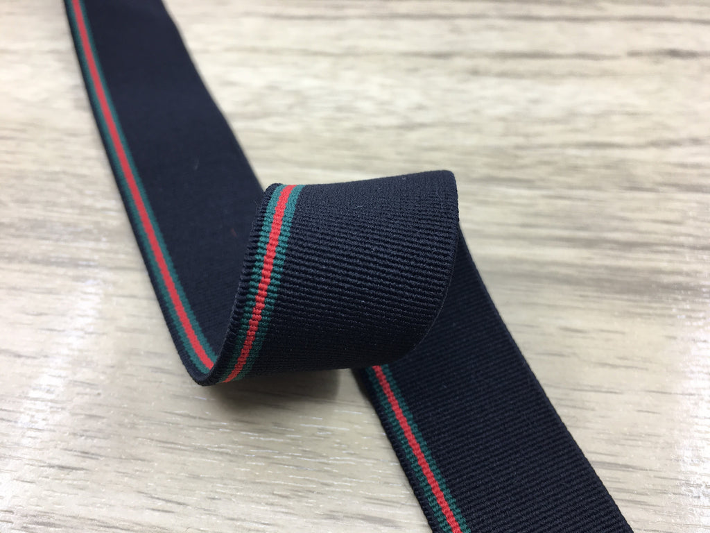1 Inch 25mm Wide Black Green and Red Striped Soft Colored Elastic, Waistband Elastic, Sewing Elastic