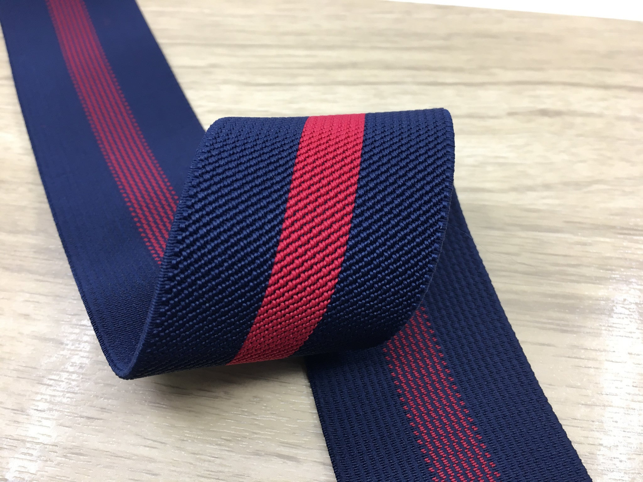 2 Inch 50mm Wide Navy and Red Striped Twill Colored Elastic - 1 Yard - strapcrafts