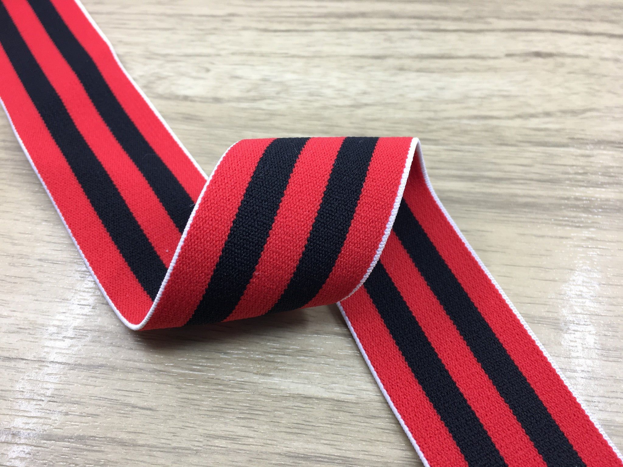 1.5 inch (40mm) Wide Colored Plush Red and Black Striped Elastic Band, Soft Waistband Elastic, Elastic Trim, Sewing Elastic - strapcrafts