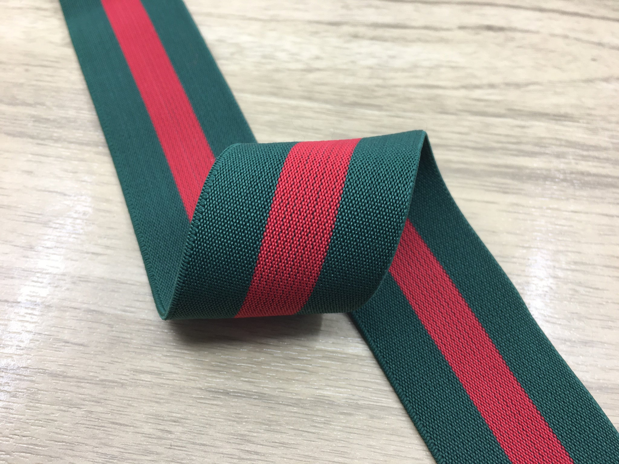1.5 inch (40mm) Wide Colored Red and Green Striped Soft Elastic Band,Waistband Elastic-1 Yard - strapcrafts