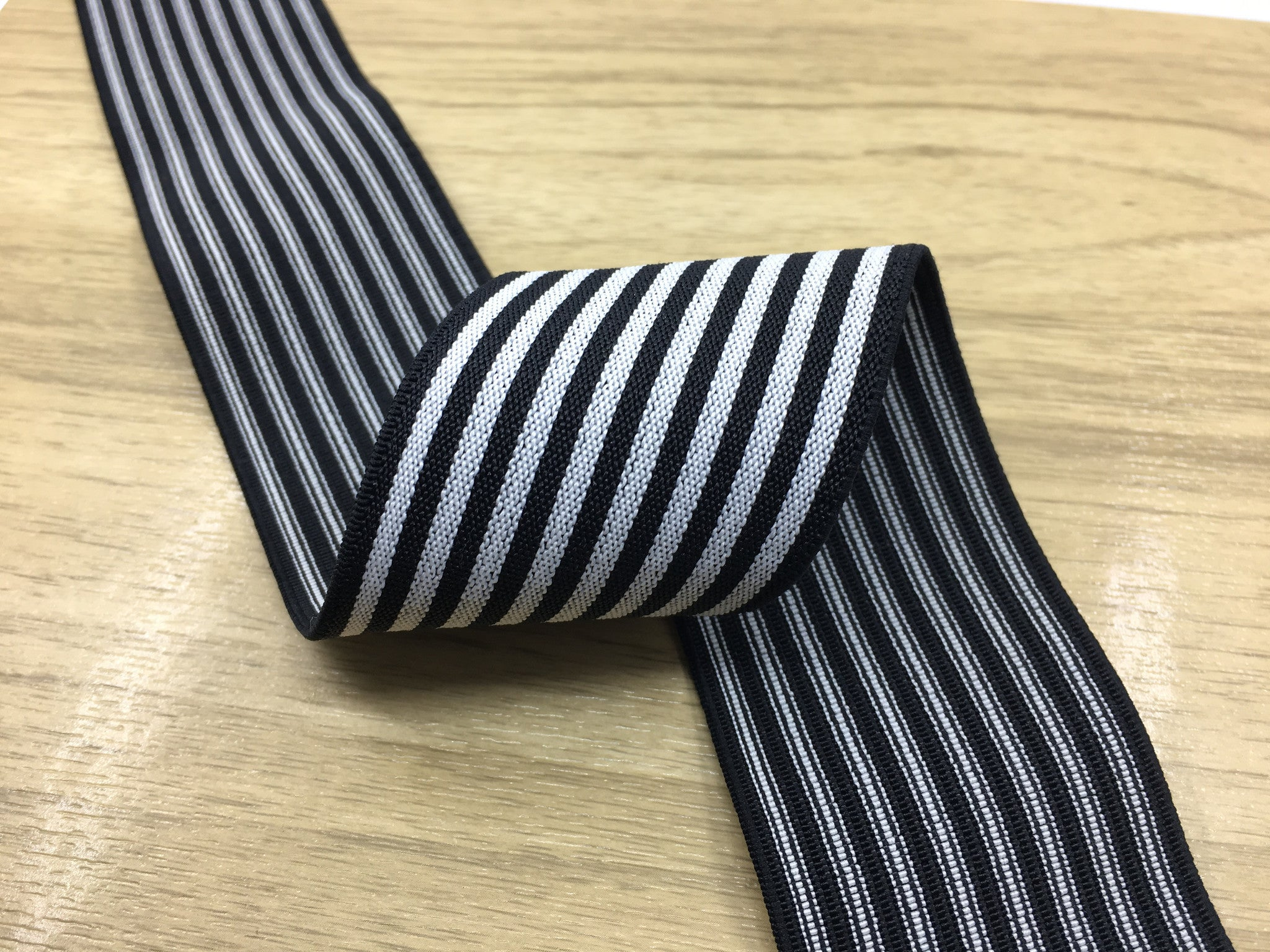 2 inch (50 mm ) Wide Colored Black and White Thin Striped Elastic Band, Waistband Elastic, Sewing Elastic-1 Yard - strapcrafts