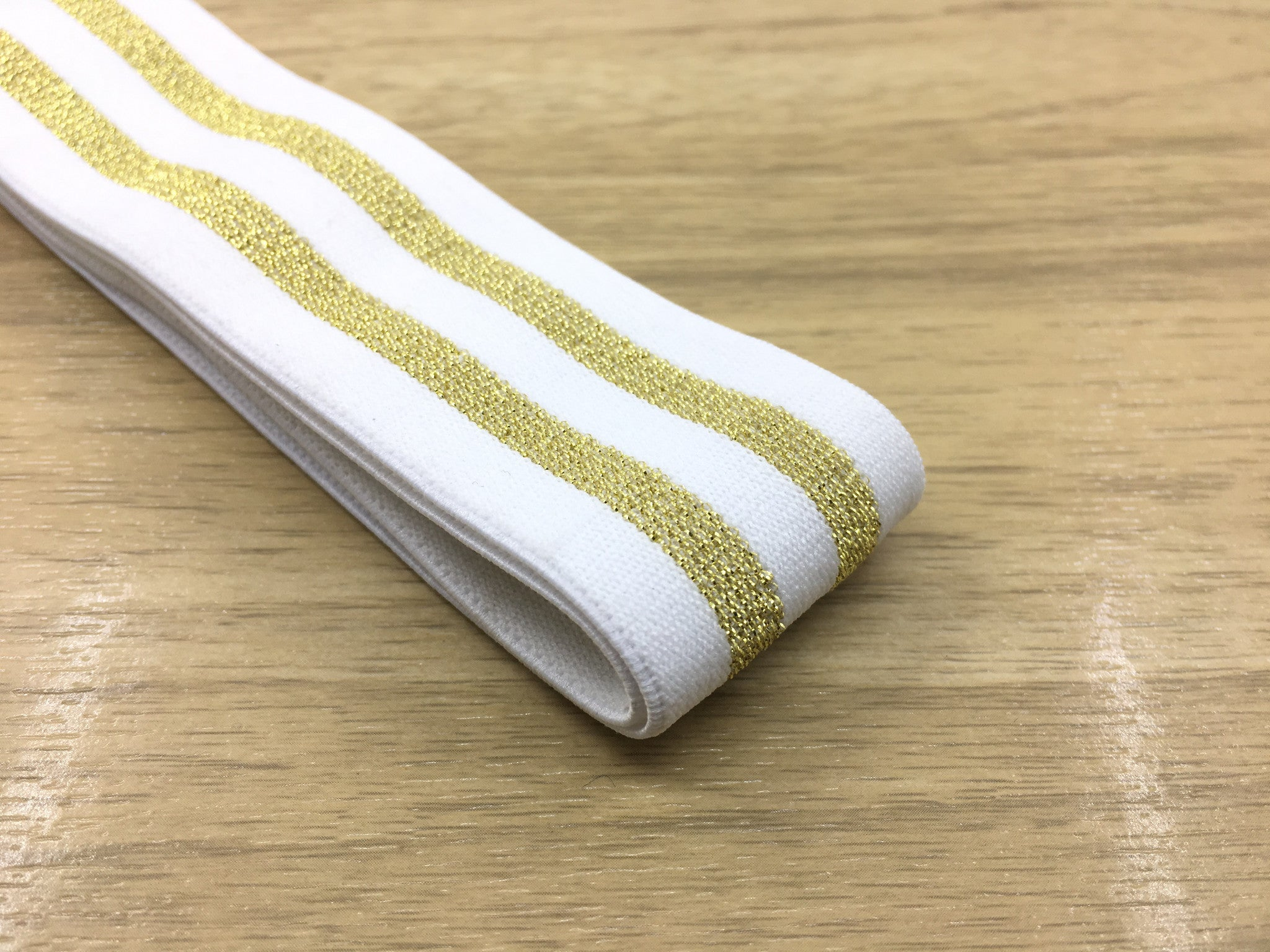 1.5 inch (40mm) Wide Gold Glitter Striped Soft White Elastic Band, Soft Waistband Elastic, Elastic Trim, Sewing Elastic - strapcrafts