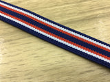 3/4 inch (20mm) Wide Colored Striped Navy Elastic Band, Waistband Elastic, Elastic Trim, Sewing Elastic - strapcrafts