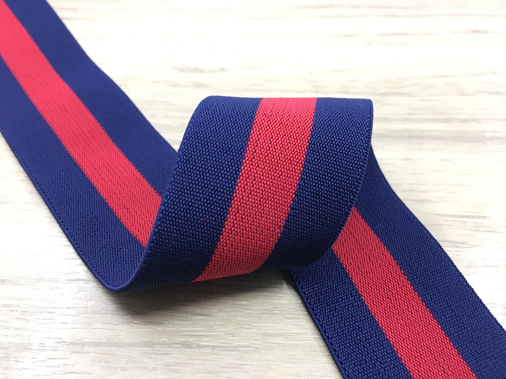1.5 inch (40mm) Wide Colored Navy and Red Striped Soft Elastic Band,Waistband Elastic-1 Yard