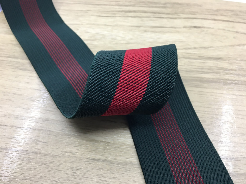 1 1/2 inch (37 mm) Colored Red and Green Striped Twill Elastic, Waistband Elastic