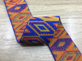 2 inch (50mm) Wide Colored Ethnic Pattern Elastic Band-1Yard - strapcrafts