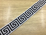 1 3/8 inch (35mm) Wide Black Wall Pattern White Plush Elastic Band,Waistband Elastic-1 Yard - strapcrafts